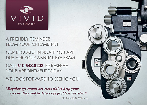 Vivid Eyecare Appointment Postcards by BC Design